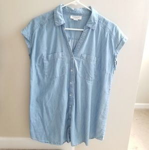 Maternity Faded Denim Button Up